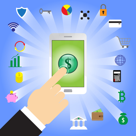 Finger Tapping Dollar Sign In White Smartphone With 18 Fintech Icons From Back Of The Phone Involving In Financial Technology, Banking, Saving, Transferring, Shopping, Cyber Security, And Investment