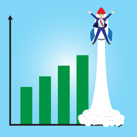 Business concept. A happy businessman is attached to a rocket launching beyond growing bar graph. He is delightful and enjoying the new growth of profit, opportunity with full pleasure, motivation.