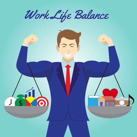 Vector business concept as illustration of five business icons And five leisure icons. Hanging on both arms of muscular businessman. Equally level on blue background. Represents work life balance. Vettoriali