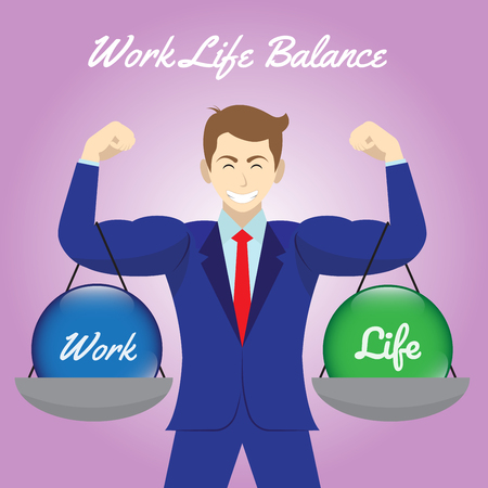 Vector business concept as illustration of blue work and green life crystal balls. Hanging on both arms of muscular businessman. Equally level on purple background. Represents work life balance.