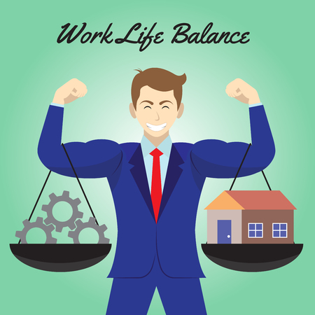 Vector business concept as illustration of dark gray cogwheels and a cozy home. Hanging on both arms of muscular businessman. Equally level on green background. Represents work life balance.