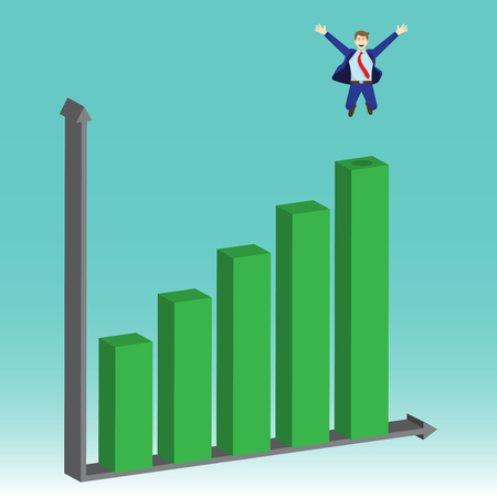 Business concept as a businessman is jumping on growth bar graph. He is proud of self performance. Delightful and enjoying the new growth of opportunity with full pleasure, motivation, encouragement.