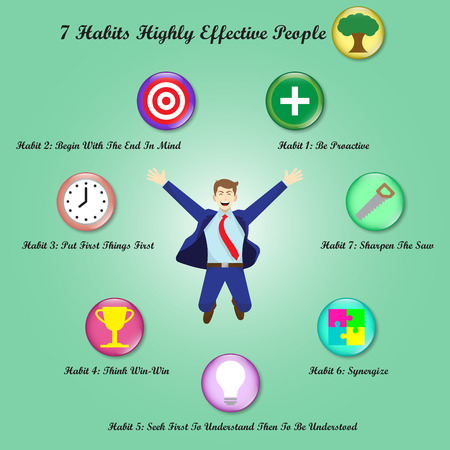 Vector Illustration A Jumping Businessman Is Surrounded By Chart Of 7 Habits Of Highly Effective People With 8 Icons Meant For Success, Goal Attainment, Ethical Character, Paradigm, Self Improvement.  イラスト・ベクター素材