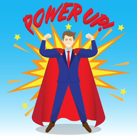 Business Concept As A Muscular Businessman Is Wearing Red Cloak And Power Up As Super Hero With Boom Effect At The Back. It Means Enhancing, Strengthening Self Performance For Achievement.