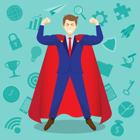 Business Concept As A Muscular Businessman Is Wearing Red Cloak In Front Of Business Icons. It Means Enhancing, Strengthening Self Performance For Work, Entrepreneurship, Management, Achievement.