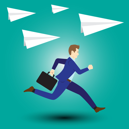 Vector Illustration Business Concept Designed As A Businessman Is Running Forward In High Speed Along With Paper Rockets. He Starts Up To New Opportunity With Full Motivation, Attempt, Encouragement. Vectores