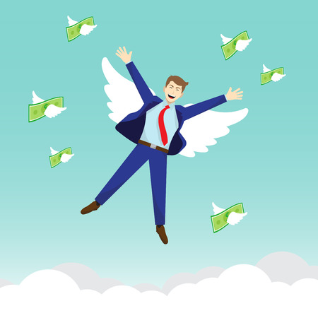 Vector Illustration Business Concept As A Happy Businessman And Money Are Flying By White Wing In The Sky. It Means Freedom To Enjoy Profit, Revenue, Income Without Any Anxiety. Illusztráció