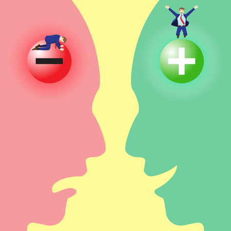 Vector Illustration Business Concept As Negative And Positive Symbol Brains With Sad And Happy Businessmen Inside Silhouette Facial Expressions. It Means Pessimistic Attitude Versus Optimistic One.