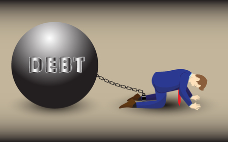 Vector Illustration Business Concept Designed As A Businessman Is Kneeling And Chained Up By Debt Metal Ball. He Is Despairing To Heavy Financial Burden, Liability; Full Of Disappointment, Depression. Illustration
