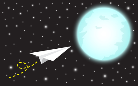 Business concept of a paper rocket flying to the shinning blue full moon vector illustration. It means dreaming or hoping to achieve, succeed, attain the big target or overcome difficulty ahead.