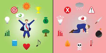 Vector Illustration Happy And Sad Businessman Thinks Positive And Negative Is Encircled By Creativity And Depression Icons Means Optimistic,Pessimistic Attitude Creates Good,Bad Things. Illustration