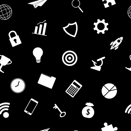 Vector Illustration White Business Icons On Black Background Seamless Pattern Designed as Multiple Objects Involved In Work, Startup, Finance, Data Security, Entrepreneurship, Management, Achievement.