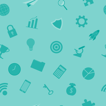 Vector Illustration Business Icons Light Blue Seamless Pattern Background  Designed as Multiple Objects Involved In Work, Startup, Finance, Data Security, Entrepreneurship, Management, Achievement.