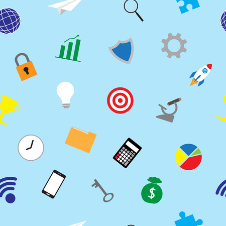 Vector Illustration Business Icons Colorful Seamless Pattern Background  Designed as Multiple Objects Involved In Work, Startup, Finance, Data Security, Entrepreneurship, Management, Achievement.