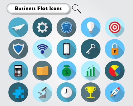 Vector Illustration Ready-To-Use 21 Colorful Business Flat Icons Designed as Multiple Objects Involved In Work, Startup, Finance, Data Security, Entrepreneurship, Management, Achievement.