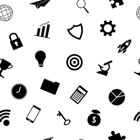 Vector Illustration Business Icons Silhouette Seamless Pattern Background Designed as Multiple Objects Involved In Work, Startup, Finance, Data Security, Entrepreneurship, Management, Achievement. Vettoriali