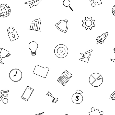 Vector Illustration Business Icons Line Seamless Pattern Background Designed as Multiple Objects Involved In Work, Startup, Finance, Data Security, Entrepreneurship, Management, Achievement. Vettoriali