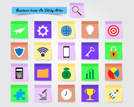 Illustration Ready-To-Use 21 Colorful Business Icons On Sticky Notes Designed as Multiple Objects Involved In Work, Startup, Finance, Data Security, Entrepreneurship, Management, Achievement.