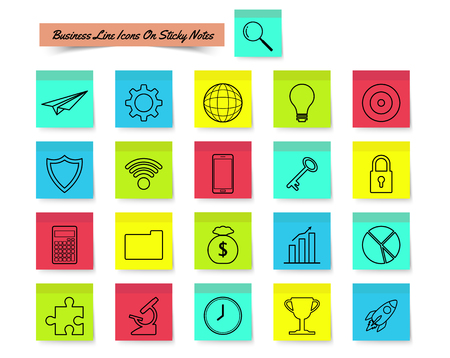 Vector illustration of ready-to-Use 21 business line icons on sticky notes designed, as multiple objects involved in work, startup, finance, data security, entrepreneurship, management, achievement. Vettoriali