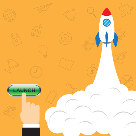Vector Illustration Business Concept As Finger Pushes A Button To Launch Rocket And Business Icons As Background Involved In Work, Startup, Initiation, Introduction, Entrepreneurship, Achievement.