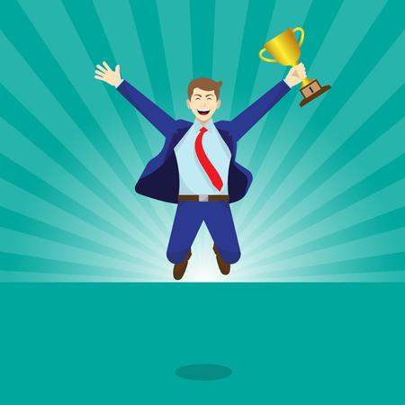 Concept d'affaires illustration vectorielle comme un homme d'affaires heureux est très sauter et détient un trophée d'or. Il est récompensé et si fier de sa performance, de ses accomplissements et de son estime de soi. Vecteurs