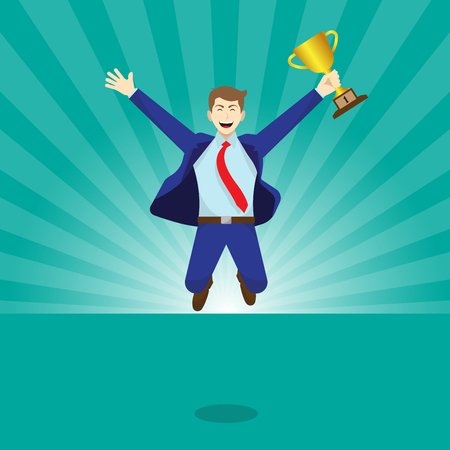 Vector Illustration Business Concept As A Happy Businessman Is Highly Jumping And Holds A Golden Trophy. He Is Rewarded And So Proud Of His Performance, Accomplishment, And Full Of Self Esteem.