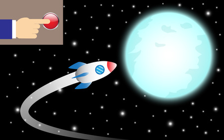 Illustration business concept as finger pushes a button to turn a rocket to the shinning blue full moon it means controlling business direction to achieve, succeed the big target ahead.