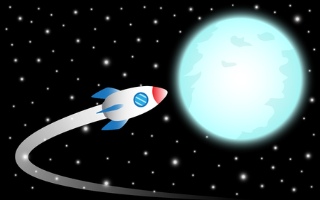 Illustration business concept as a rocket is flying to the shinning blue full moon it means dreaming or hoping to achieve, succeed, attain the big target or overcome difficulty ahead.