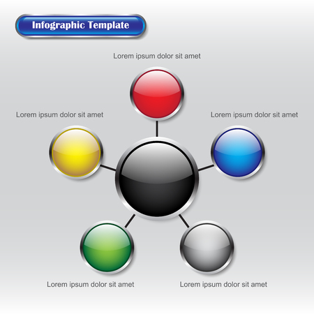 Vector Illustration Infographic Template Designed As Six Glossy Buttons. A Big Black One Is In The Middle Connected With Five Different Color Ones Useful For General Plan, Model, And Process.