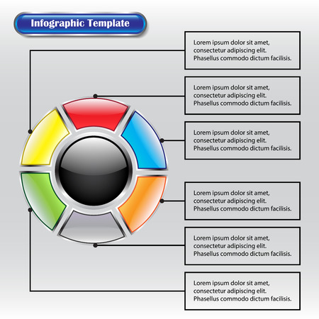 Vector Illustration Infographic Template Designed As Seven Glossy Buttons. A Big Black Circle One Is In The Middle Surrounded By Six Different Color Square Ones With Text Boxes.  Illusztráció