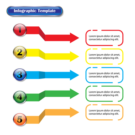 Vector illustration info-graphic template designed as five different color glossy buttons and arrows with text. Useful for general business and education presentation, plan, process, step, procedure. Illusztráció