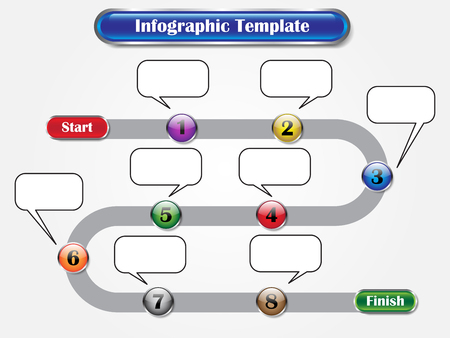 Vector Illustration Infographic Template Designed As Sequence Of Ten Buttons From Start To Finish With Call Out Boxes. Useful For General Business And Education Presentation Process, Step, Procedure.