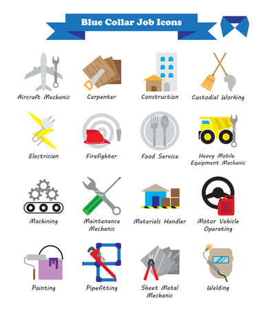 Vector Illustration Ready-To-Use 16 Colorful Blue Collar Job Flat Icons