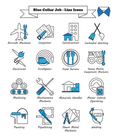 Gebrauchsfertiger 16 blauer Kragen-Job der Vektor-Illustration - Linie die Ikonen, die als mehrfache Berufe bestimmt sind, die in Arbeitskraft, Arbeit, Fähigkeit, technisch, körperlich, Herstellung, Mechaniker, Wartung mit einbezogen werden. Vektorgrafik