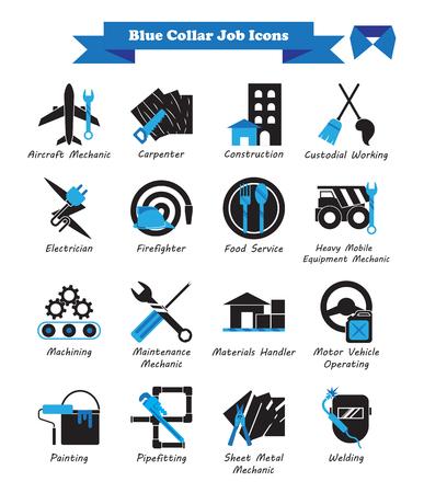 Ilustración vectorial Listo para usar 16 Trabajo de cuello azul: iconos planos negros y azules como profesiones múltiples involucradas en trabajador, mano de obra, habilidad, técnico, físico, fabricación, mecánico, mantenimiento.