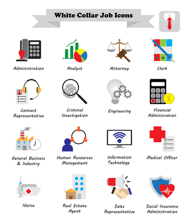 Vector Illustration Ready-To-Use 16 Colorful White Collar Job Flat Icons Designed as Multiple Professions Involved In Professional, Managerial, Administrative Work, Office, Customer Interaction, Sales Vettoriali