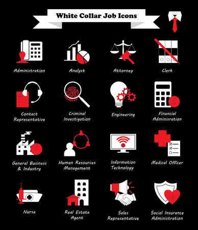 Vector Illustration Ready-To-Use 16 White Collar Job - White And Red Flat Icons As Multiple Professions Involved In Professional, Managerial, Administrative Work, Office, Customer Interaction, Sales.