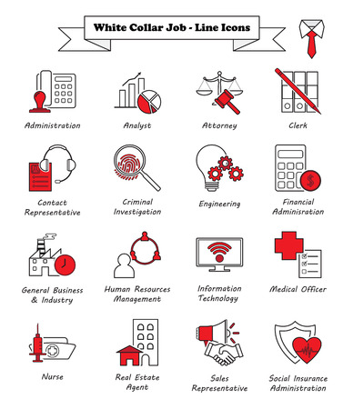 Vector Illustration Ready-To-Use 16 White Collar Job - Line Icons Designed as Multiple Professions Involved In Professional, Managerial, Administrative Work, Office, Customer Interaction, Sales.