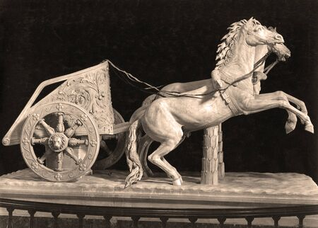 Sepia Tone The Romans Game - Two horses chariot