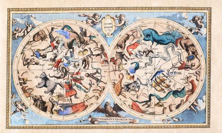 Antique Vintage Constellation Celestial Hemisphere