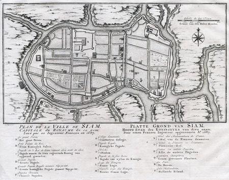 Antique Plan of Ayutthaya Siam Thailand - 1750