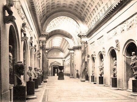 Foto d'epoca Braccio Nuovo nel museo del Vaticano 1890