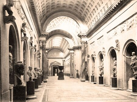 Vintage Photo Braccio Nuovo  in Vatican museum 1890