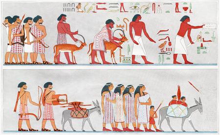 Vintage Art : ANCIENT EGYPT FAMILY  1900