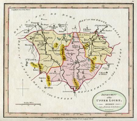 Lovely Vintage Map of France - Upper  Loire 1749