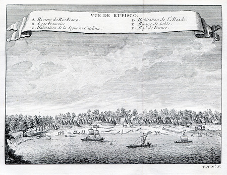 Antique Art :  View of Refisco and River Rufisco, Ivory Coast,Africa. 1753