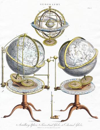 Vintage Art 1807 - GEOGRAPHY - ARMILLARY SPHERE , TERRESTRIAL  GLOBE AND  CELESTIAL GLOBE.
