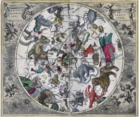 Vintage Art  Northern Celestial Map  -Night Northern Star