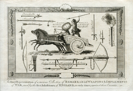 Antique Military  Art :  ANCIENT WEAPONS OF WAR USED AGAINST THE ENGLISH 1790 Banco de Imagens