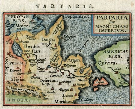 Antique Map Tartaria China, Russia, Japan, Amercica by Ortelius 1600